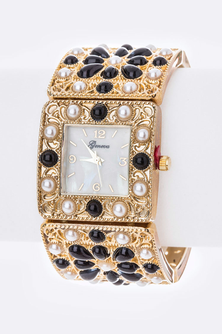 Mix Pearls Fashion Bangle Watch