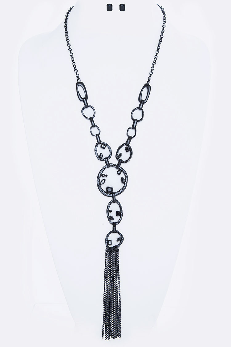 Matte Black Crystal Tassel Long Necklace Set