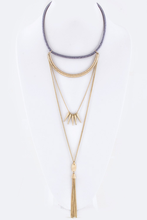 Spikes & Tassel Layer Collar Necklace