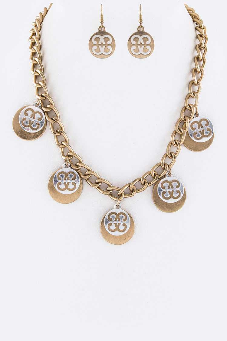 Overlay Medallion Fashion Necklace Set