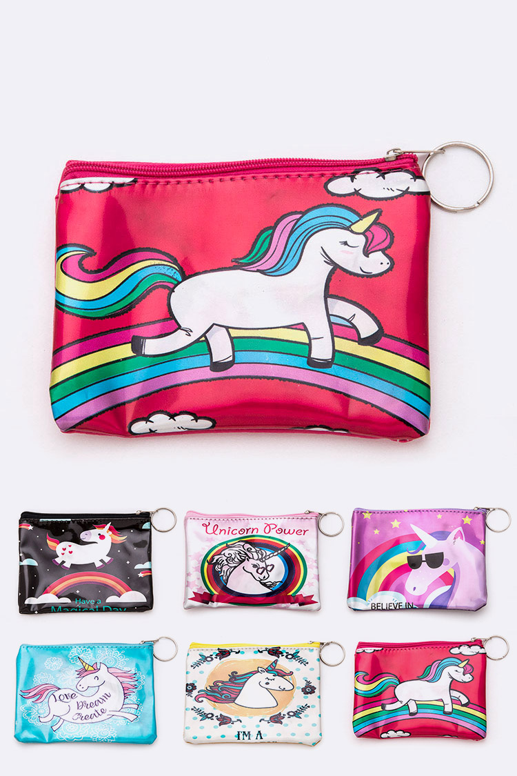 Mix Unicorn Printed Coin Wallet Pouch Set