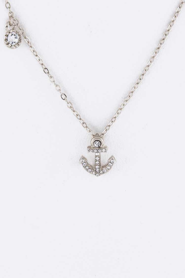 Petite Crystal Anchor Charm Necklace