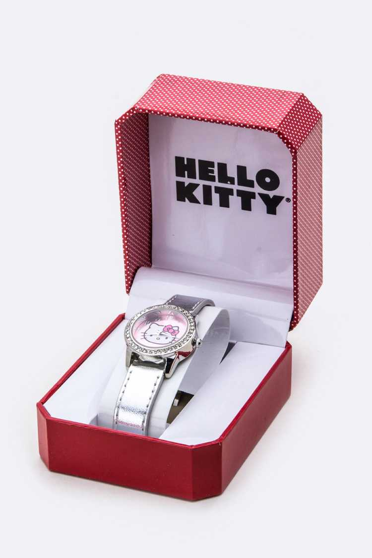 Crystal Bezel & Metallic Band HELLO KITTY Watch