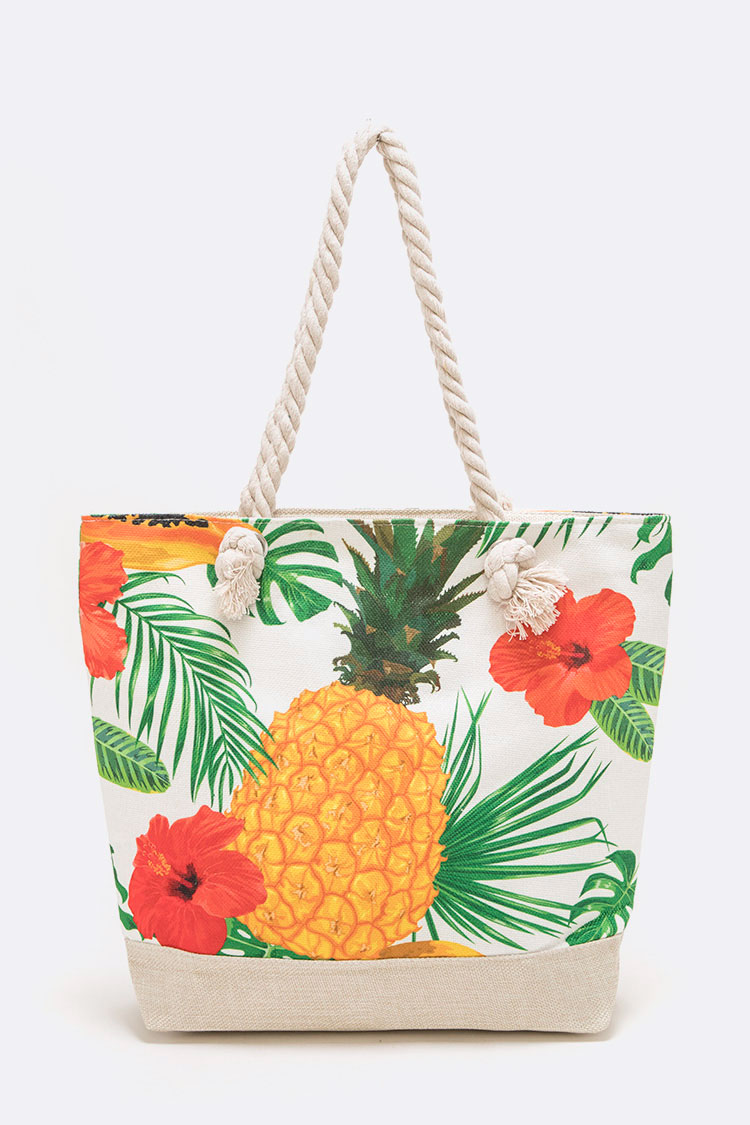 Pineapple Print Canvas Tote