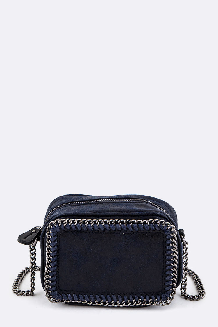 Laced Chain Distressed Vegan Suede Crossbody Bag