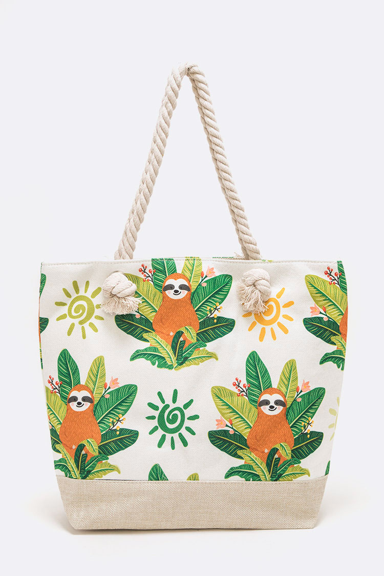 Sloth Print Canvas Tote
