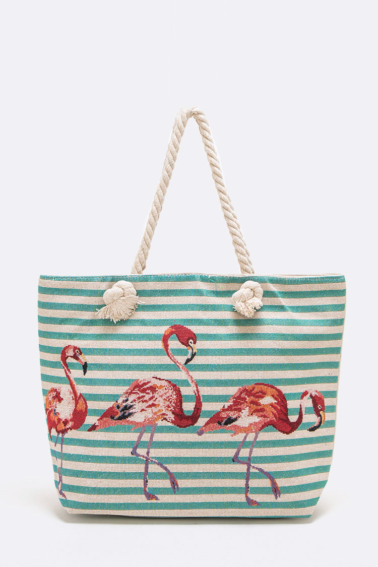 Flamingo Strip Print Canvas Tote