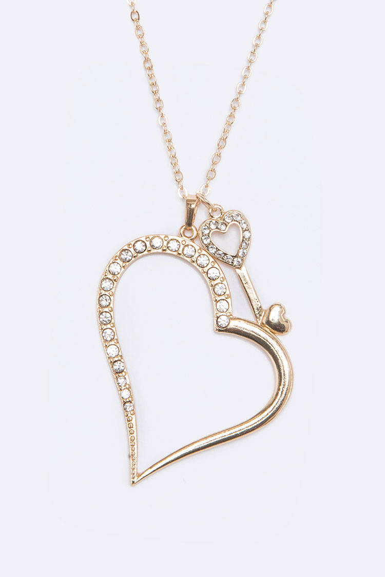 Crystal Heart & Key Pendant Necklace Set