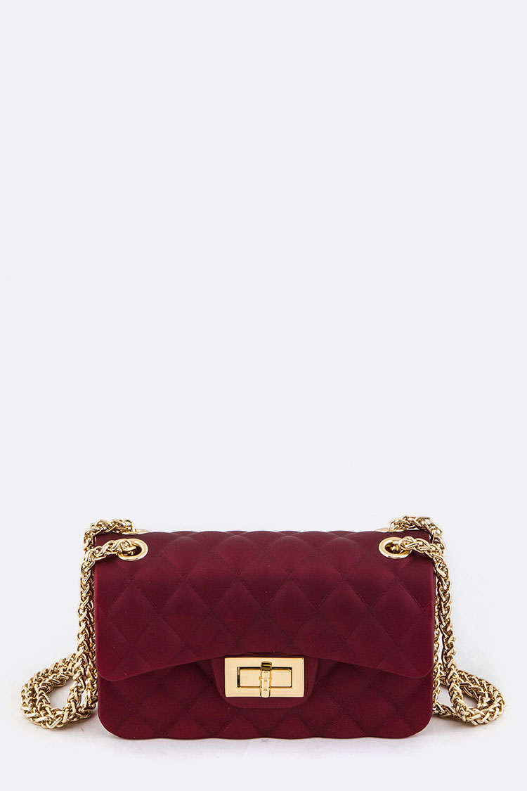 Quilted Texture Shimmery Jelly Clutch Bag