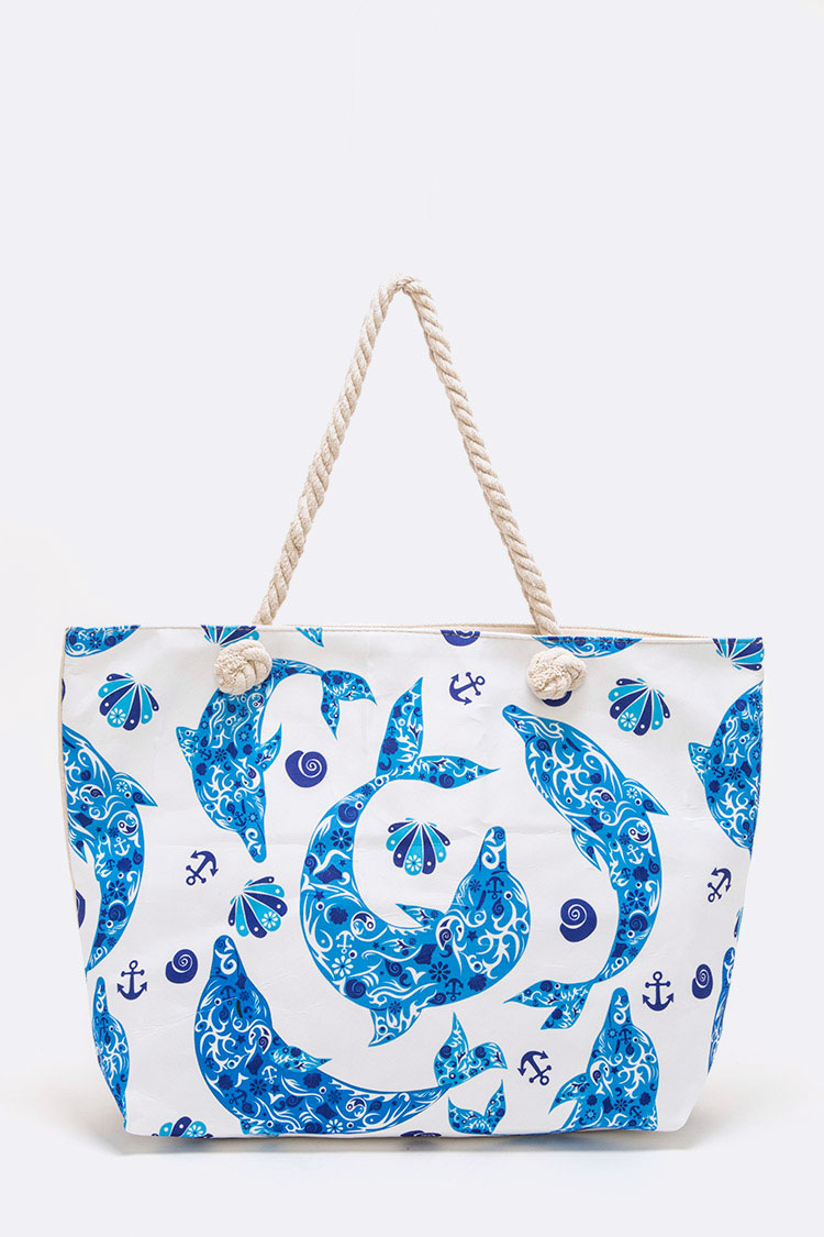 Dolphin Print Canvas Tote