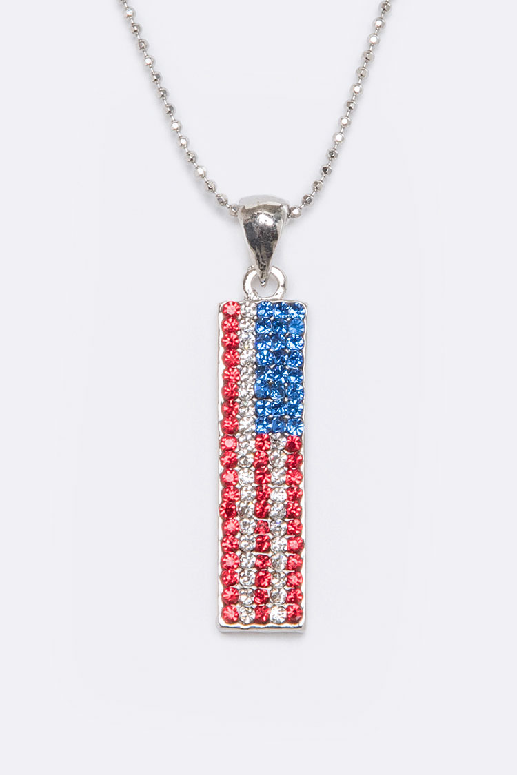 Crystal Pave US Flag Pendant Necklace