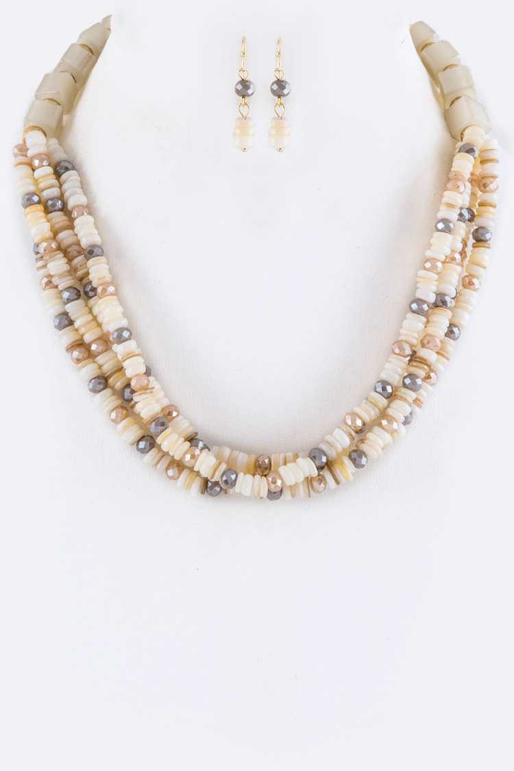 Mix Semi Precious Beads Layer Necklace Set