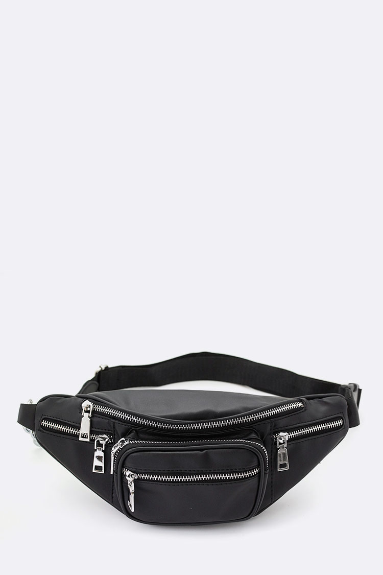 Chain Strap Convertible Multi Pocket Fanny Pack