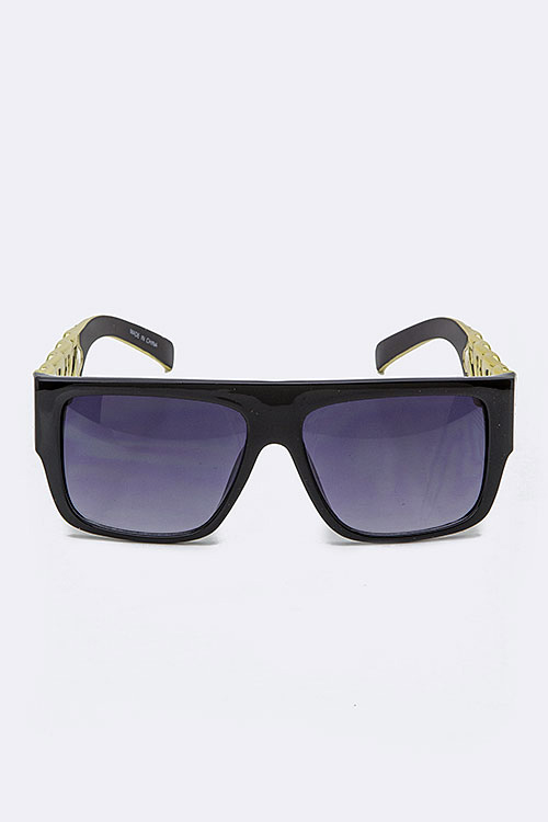 Square Gold Frame Sunglasses : Gold Chain Accent Square Frame Sunglasses