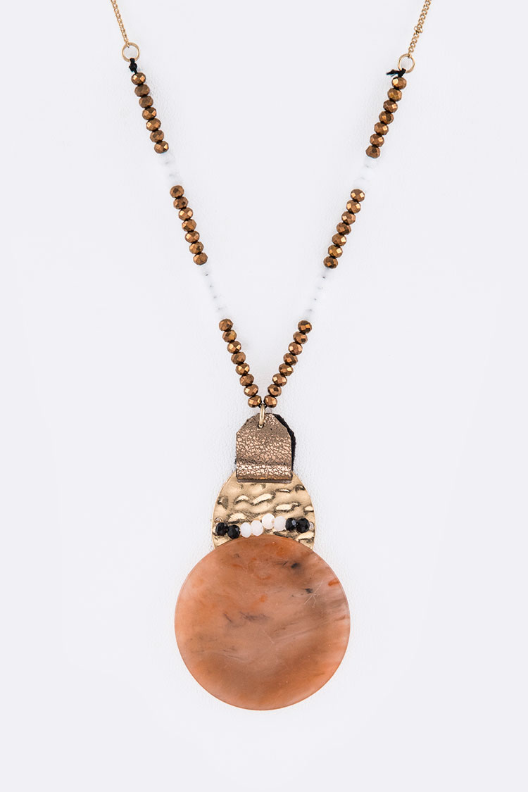 Genuine Stone Long Pendant Necklace Set