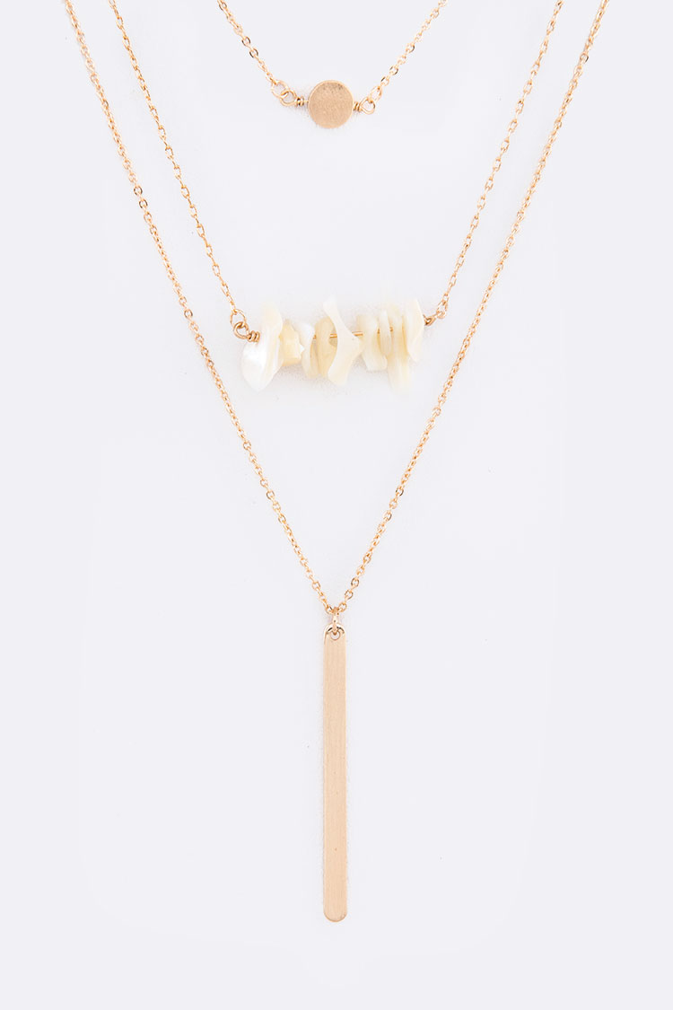 Nugget Beads Bar Drop Layer Necklace Set
