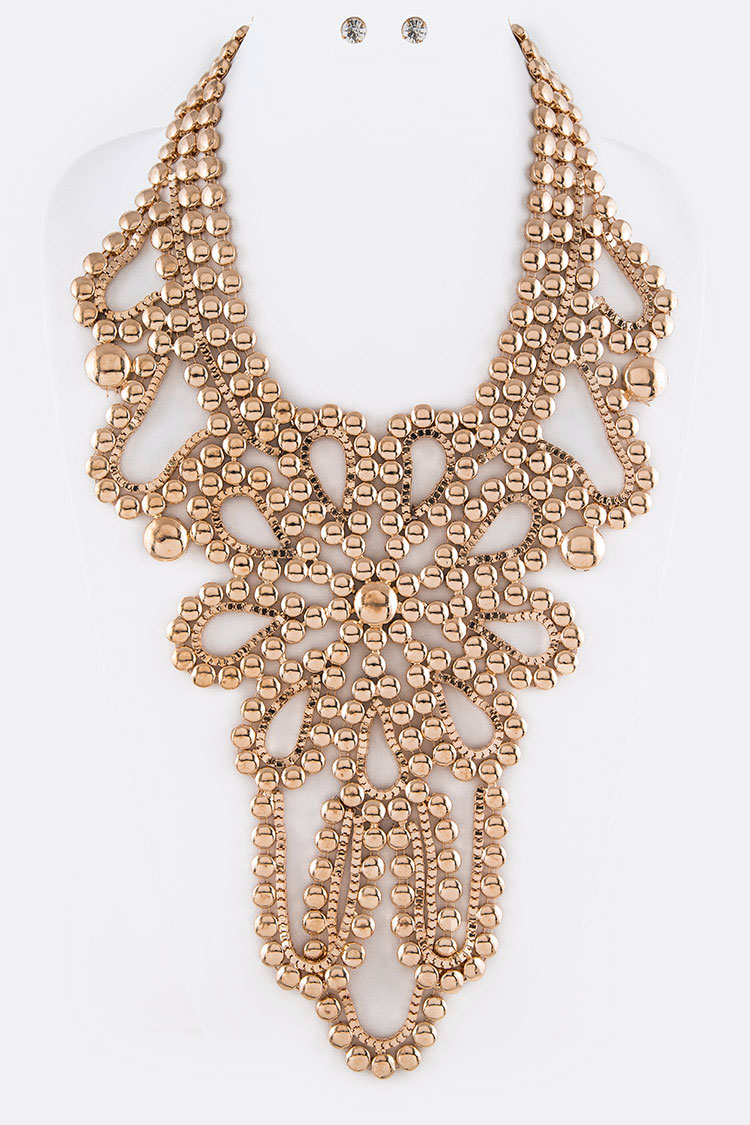 Iconic Metal Chain Statement Necklace Set
