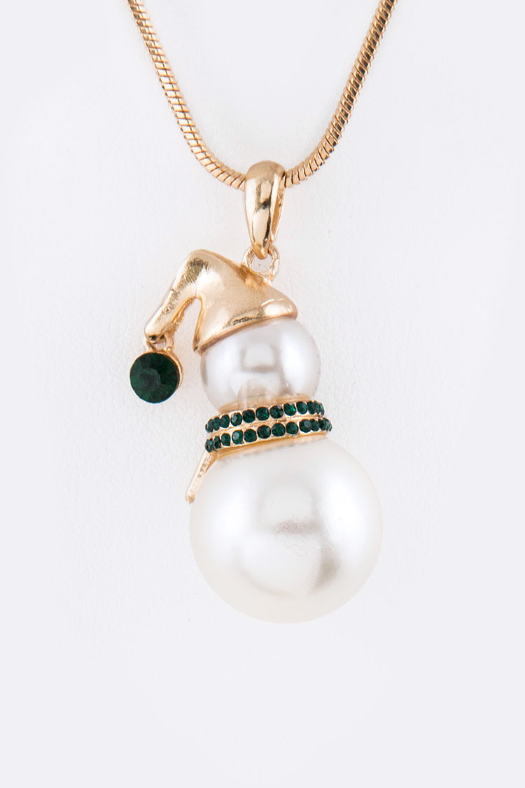 Crystal & Pearl Snowman Pendant Necklace