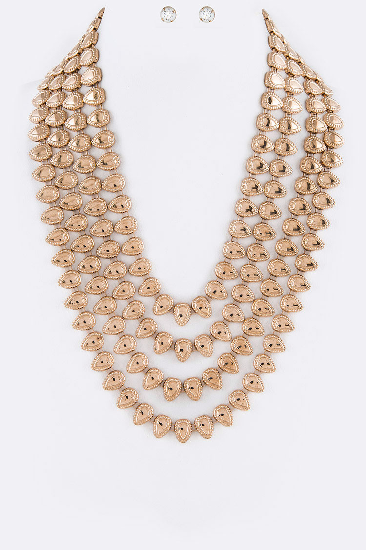 Teardrop Iconic Chain Layered Necklace Set