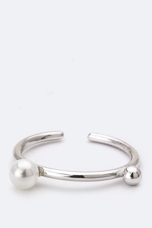 Sterling Silver Pearl & Ball Ring