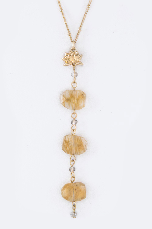 Lotus & Precious Stones Drop Necklace