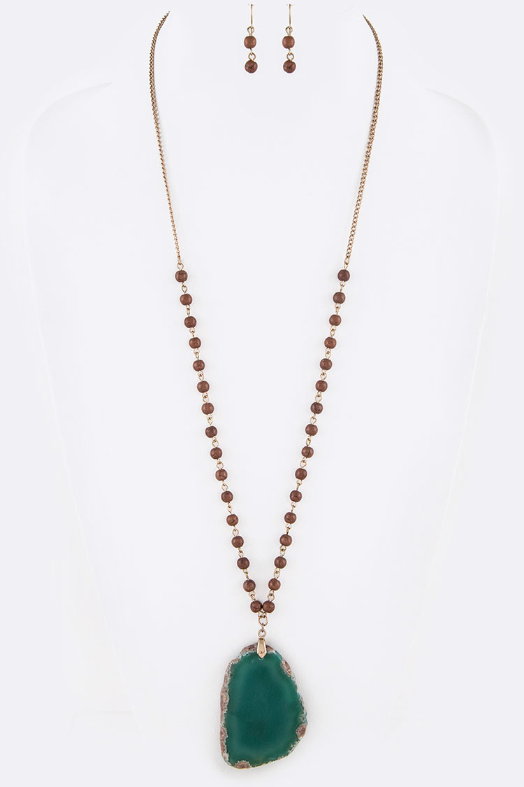 Semi Precious Stone Slice & Bead Necklace Set