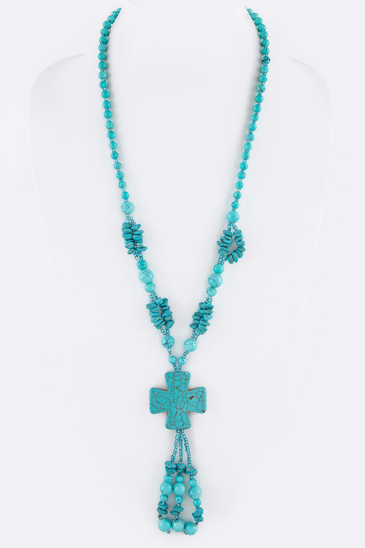 Turquoise Cross Iconic Pendant Necklace