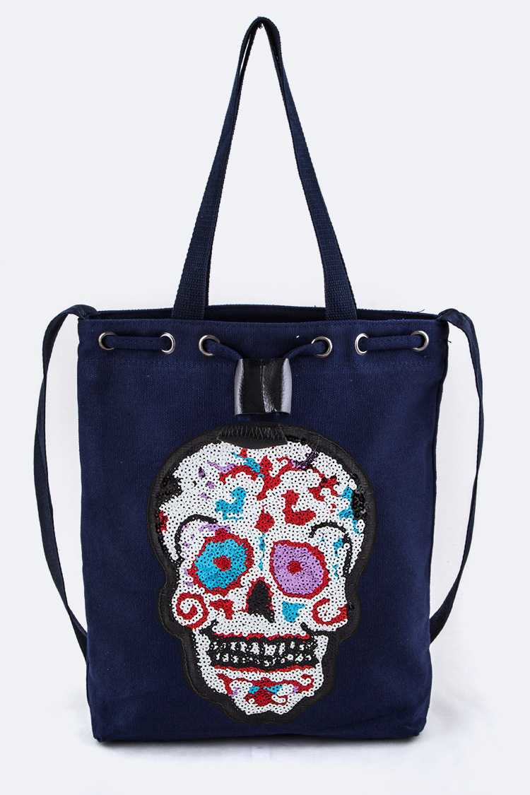 Sequins Skull Canvas Shoulder Tote