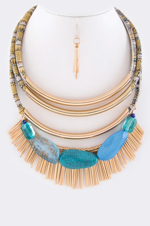 Precious Stone & Fringed Bars Iconic Layer Collar Necklace