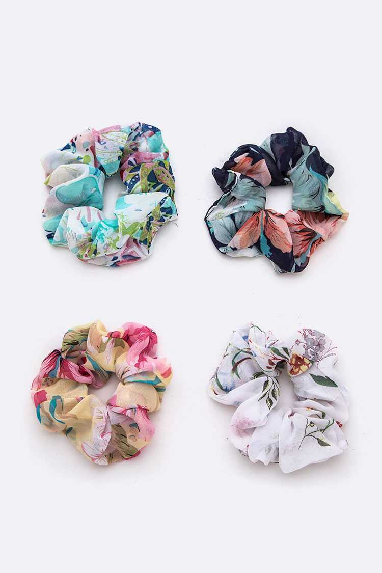 Mix Floral Print Scrunchies Set