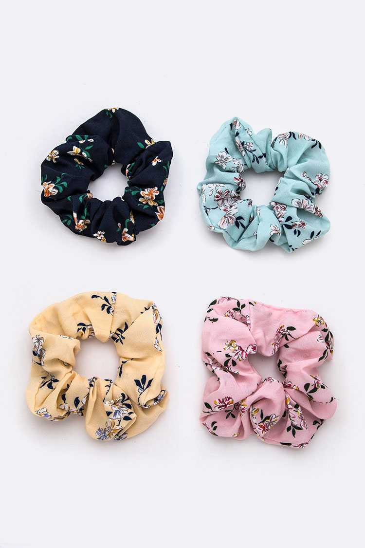 Floral Printed Scrunchies Set