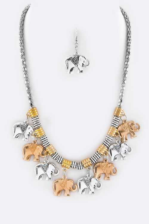 Elephant Charms Statement Necklace Set