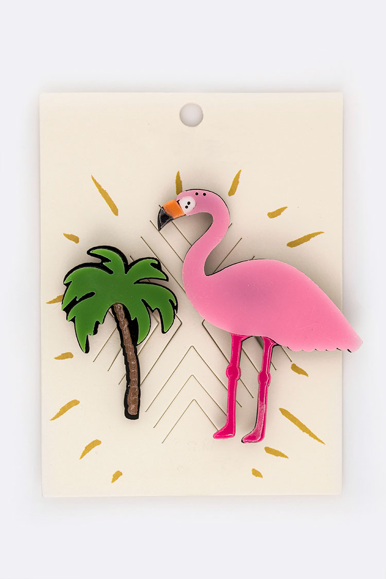 Palm Tree & Flamingo Pins Set