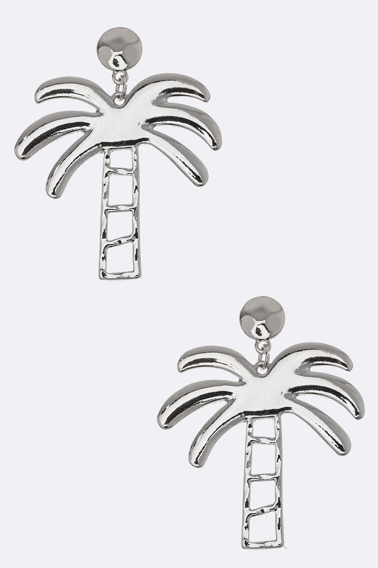 Metal Palm Tree Earrings