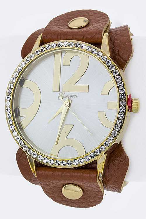 Abstract Number Fashion Leather Watch