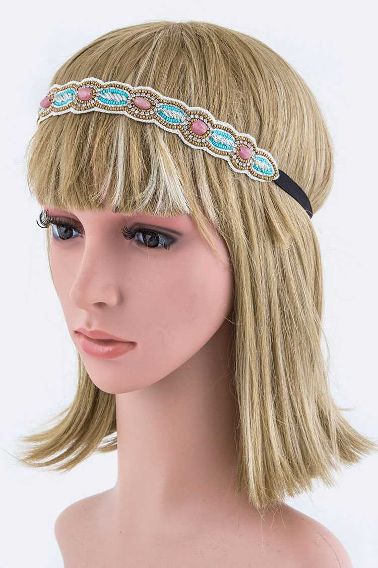Crystal & Beads Stretch Headband
