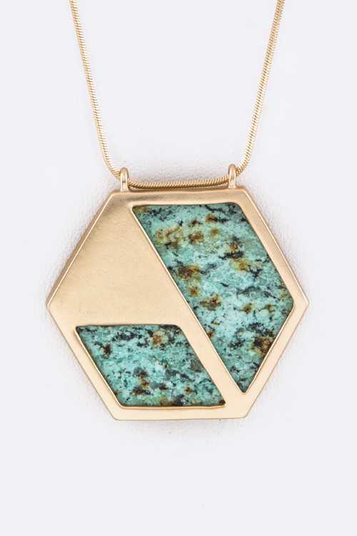 Framed Hex Semi Precious Stone Pendant Necklace