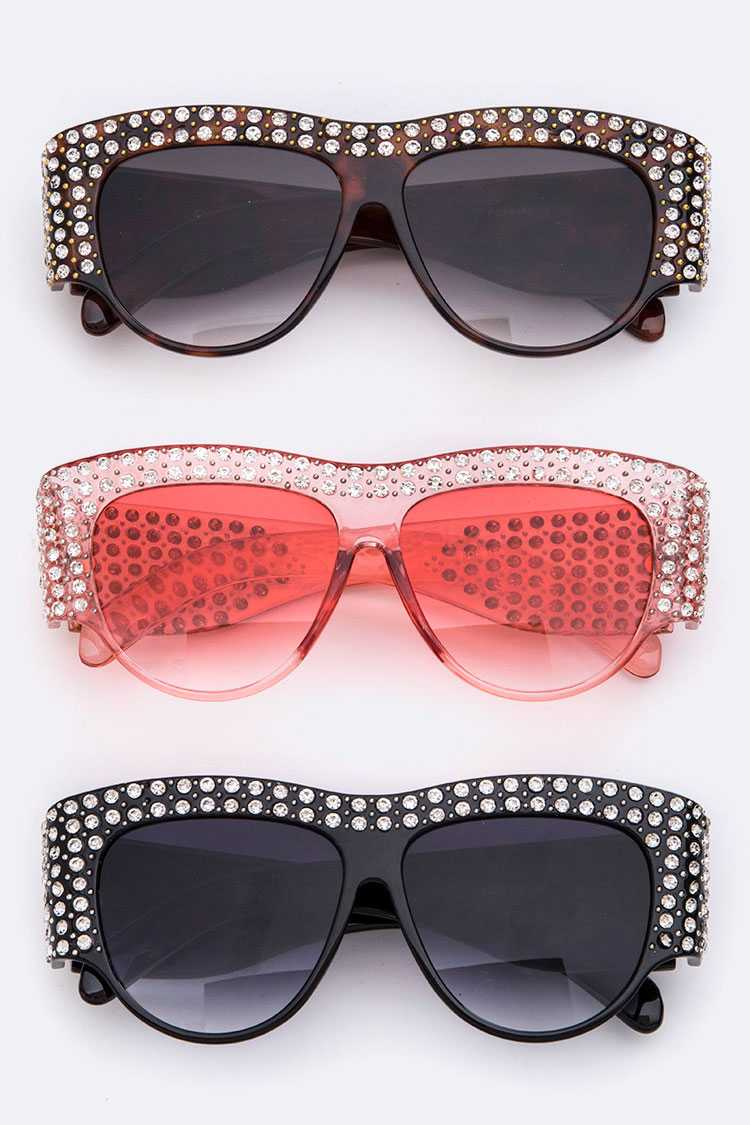 Crystal Accent Iconic Designed Sunglasses