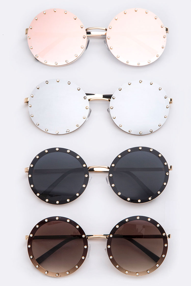 Studded Accent Oversize Round Sunglasses