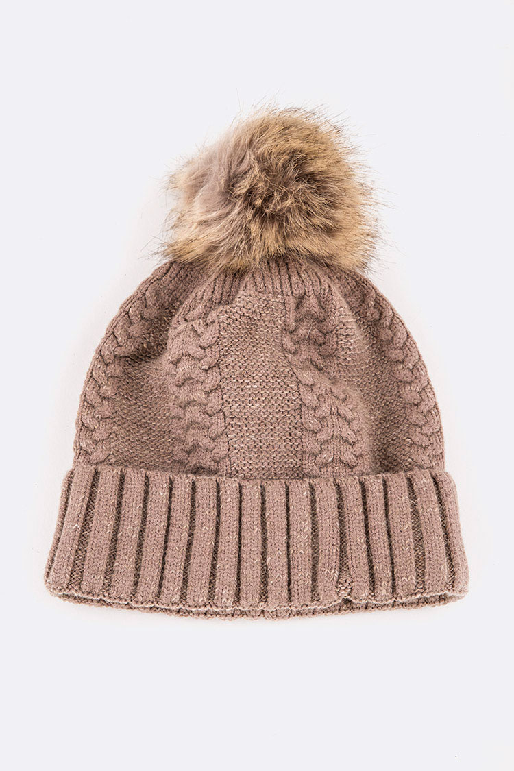 Cable Knit Wool Blend Beanie