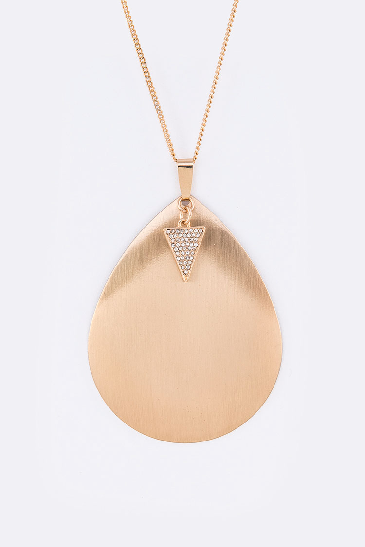Crystal Triangle Brush Metal Teardrop Pendant Necklace Set