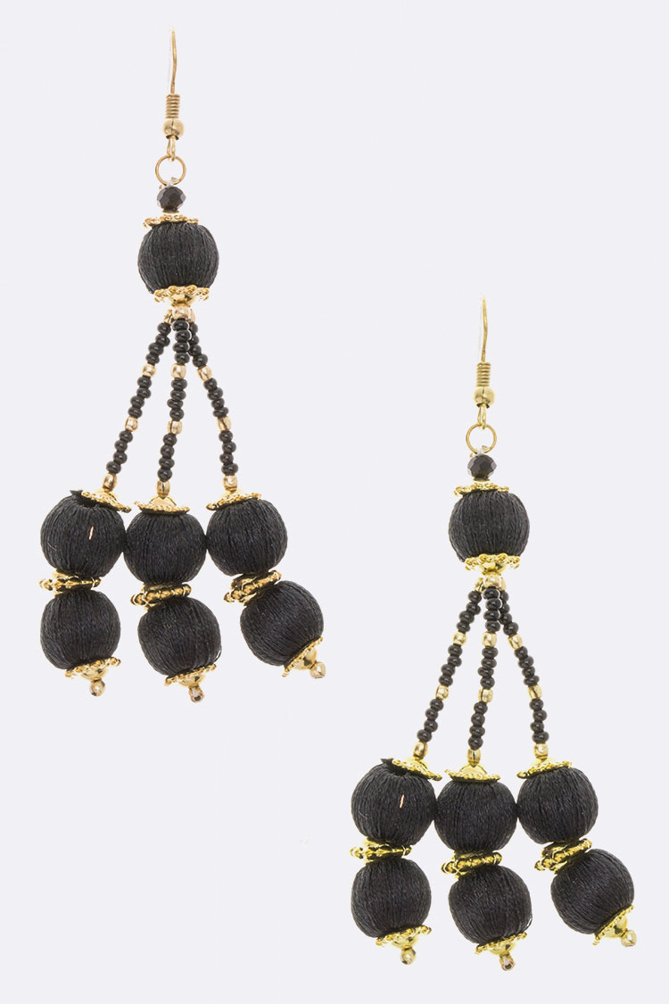Triple Yarn Ball Drop Earrings
