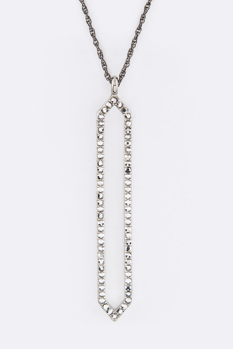 Pave Crystals Hoop Pendant Necklace