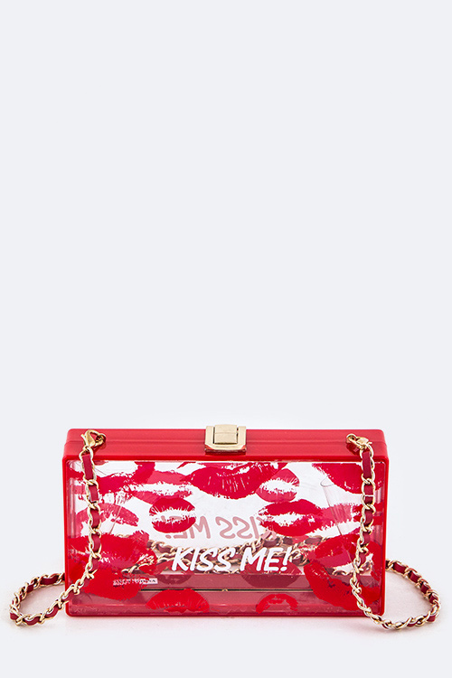 KISS ME! Iconic Clear Box Clutch