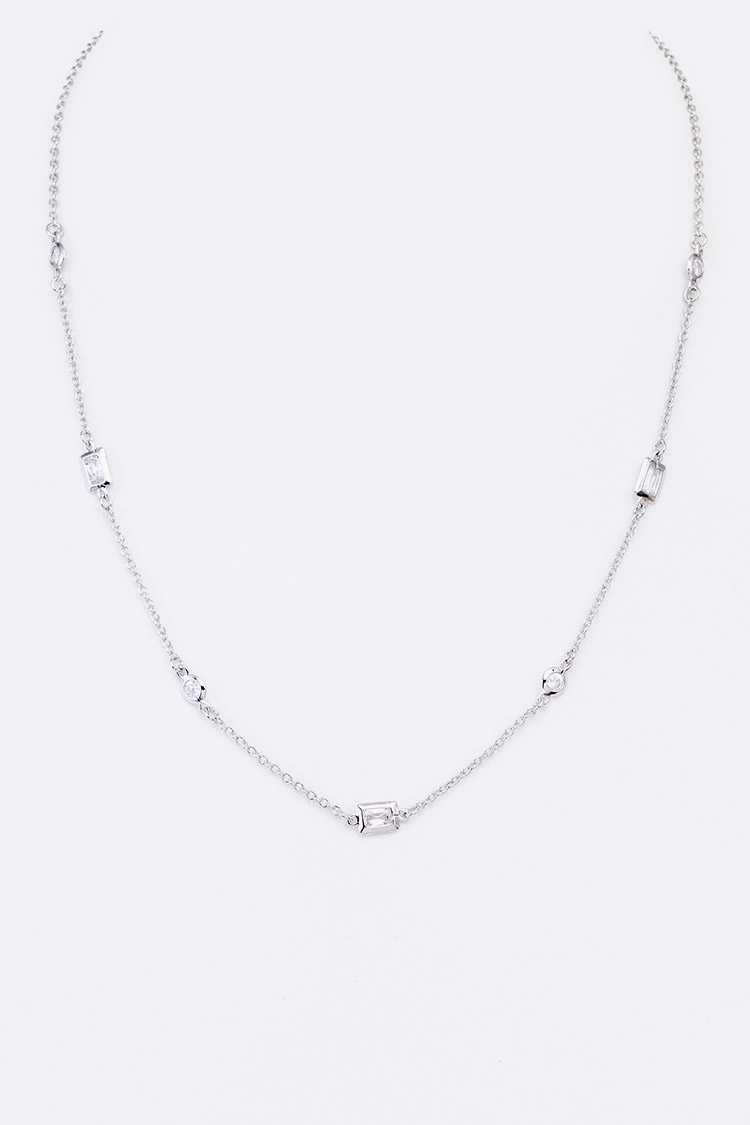 Diamond By The Yard CZ Station Necklace