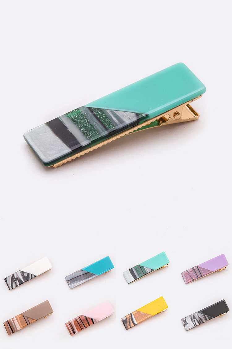 Mix Tone Alligator Hair Clip Set