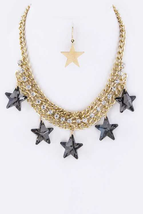 Star Crystals Statement Necklace Set