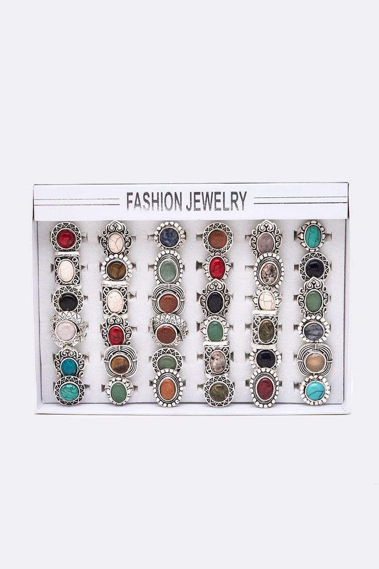 Assorted Adjustable Semi Precious Stone Ring Set