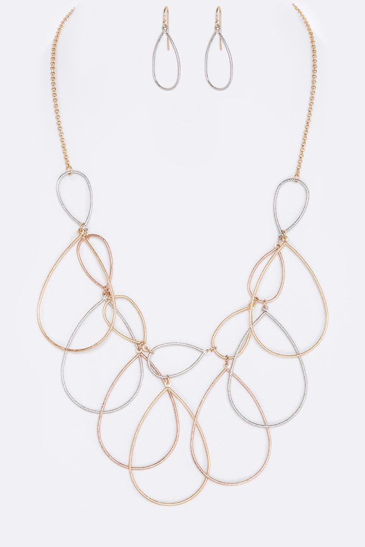 Teardrop Wired Hoops Iconic Necklace Set