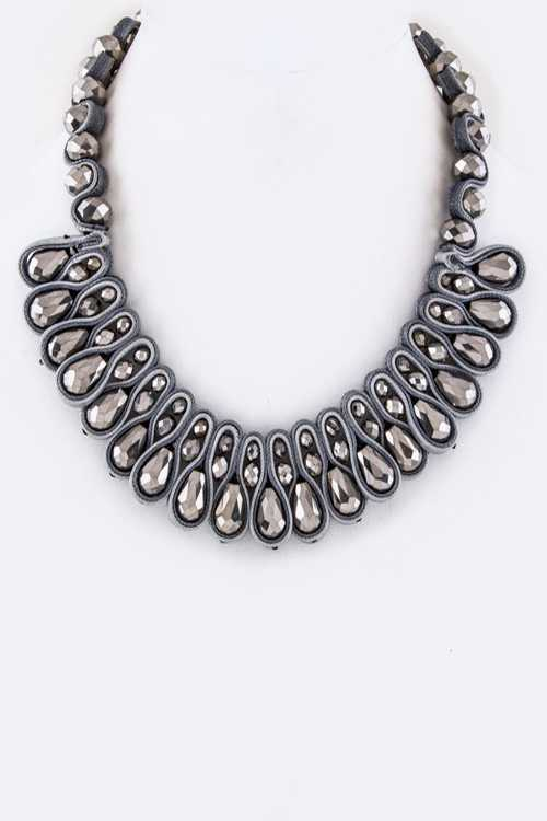 Laced Crystal Statement Necklace